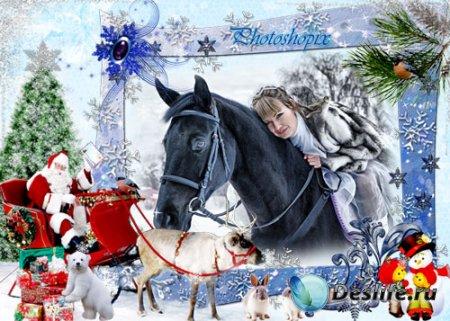 Новогодняя рамка для фотошопа – Снежная зима