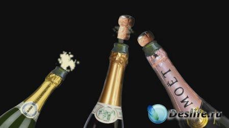Футаж с альфа-каналом - Бутылки шампанского