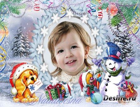 Рамка детская для Photoshop – Поздравляем снеговика