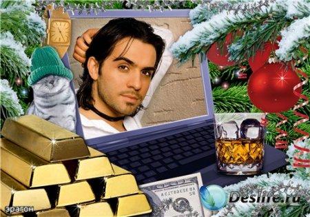Рамочка для фотошопа – Мужская новогодняя