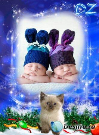 Зимняя рамочка для фото с котенком