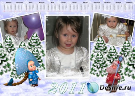 Новогодний календарь для Photoshop на 2011 год – Маша и Медведь