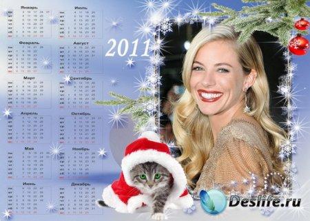 Новогодний календарь с котёнком