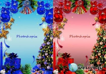 Новогодняя рамка для Photoshop – Новогодний блеск