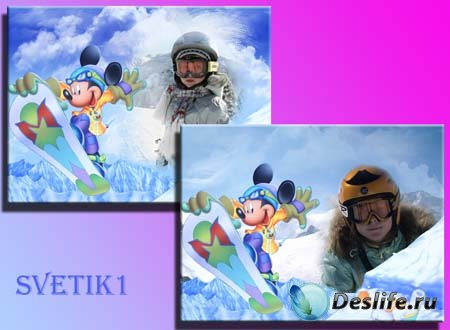 Рамка для фотошопа - Зима с Мики