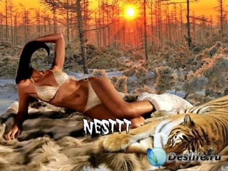 Женский костюм для Photoshop - Закат в лесу