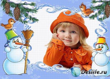 Детская рамка со снеговиками