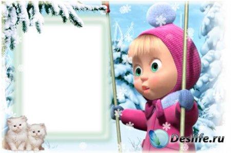 Детская рамка для фотошопа - Маша и котята