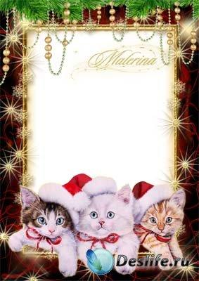 Новогодняя рамка для фотошопа - Три котенка