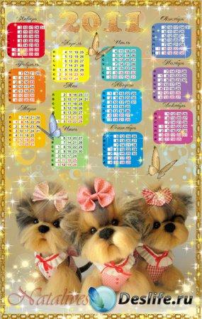 Календарь для фотошопа – Милые песики