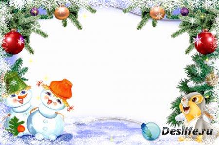 Новогодняя детская рамка для фотошопа - Веселые снеговики