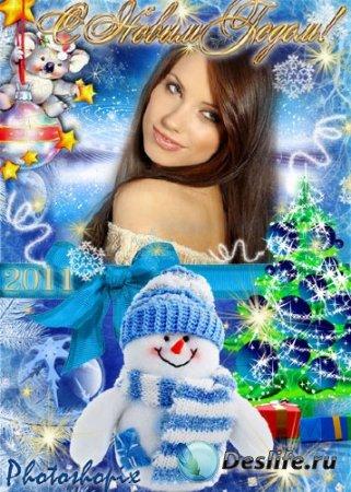 Новогодняя рамка для Photoshop – Снеговик