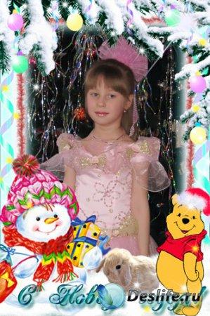 Новогодняя детская рамка для Photoshop - Снеговик и Винни