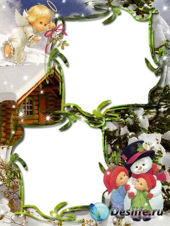 Рамка для фотошопа - Новогодняя рамка с ангелом