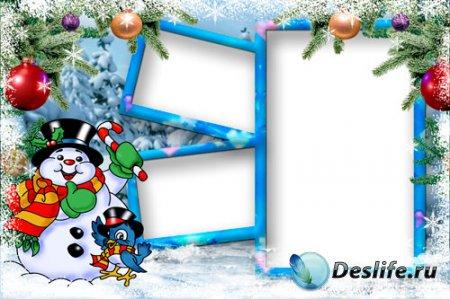 Детская новогодняя рамка для Photoshop - Воробей и снеговик