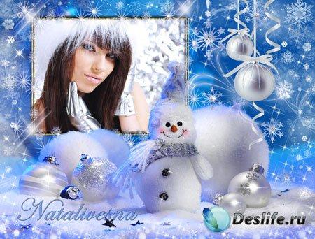 Рамка для фотошопа – Новогодний снеговик