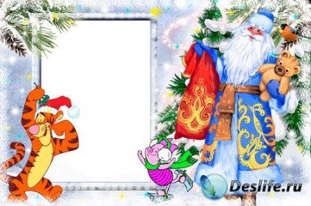 Детская новогодняя рамка для фотошопа - Тигра и дед Мороз