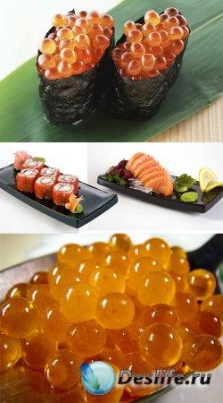 Клипарт - Японская кухня. Суши, икра, сашими, роллы
