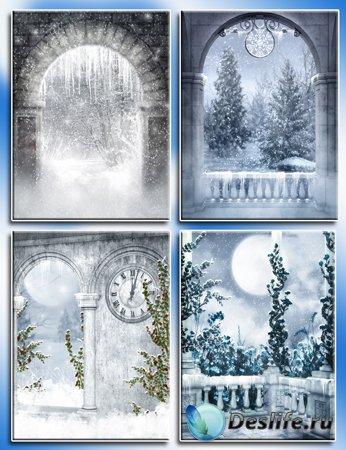 Зимние фоны для создания шаблонов
