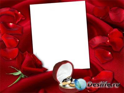 Свадебная рамка для фотомонтажа – В лепестках алой розы