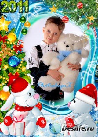 Детская новогодняя рамка для фотошопа – Зайчата