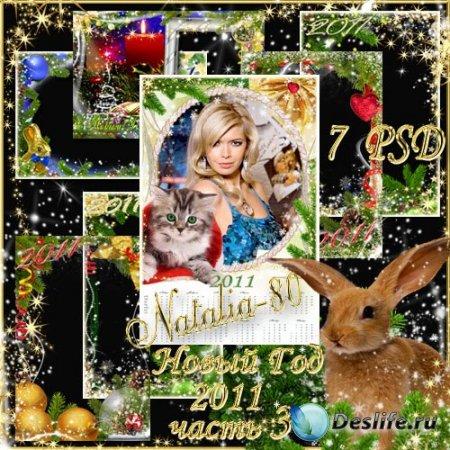 Набор красивых праздничных рамочек для фотошопа - Новый год 2011 (часть 3)