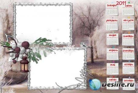 Календарь для фотошопа - Зимний лес
