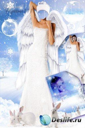 Женский костюм + фон для фотошопа - Снежная сказка