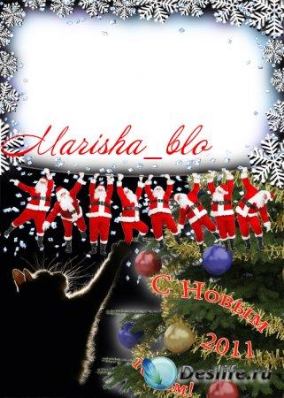 Рамка - открытка с поздравлением 2011 - Новогодняя!