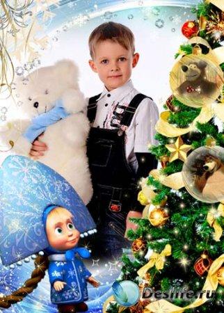 Детская новогодняя рамка для фотошопа – Маша и Медведь