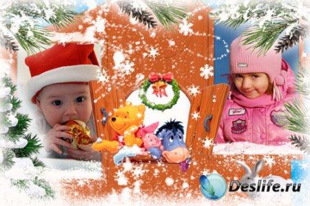 Новогодняя рамка для фотошопа – Винни и друзья