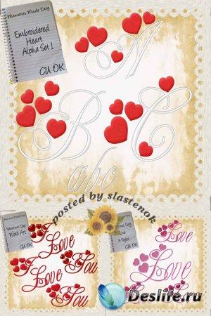 Декоративный алфавит с сердечками и надписи
