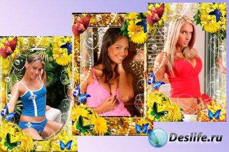 Романтическая рамка для фотошопа – Цветы и мыльные пузыри