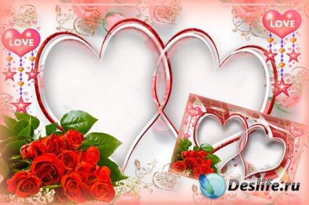 Романтическая рамка для фотошопа – Влюбленные сердца