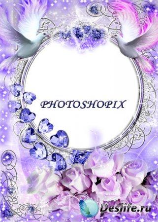Романтическая рамка для фотошопа – Два голубка