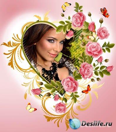 Рамка-валентинка - Романтичные розы