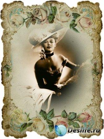 Женский костюм для фотошопа - Кокетка в шляпке ретро