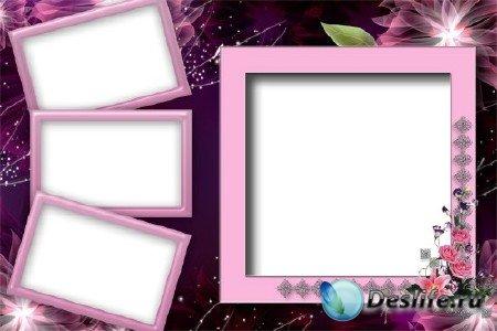 Рамка для фотошопа - Розовая рамка