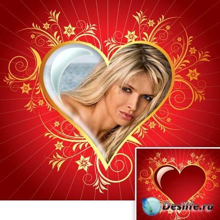 Рамка-валентинка - Красное сердце