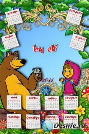 Детская рамочка-календарь - Маша и медведь