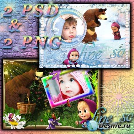 Детские рамочки с героями мультика – Маша и медведь 3