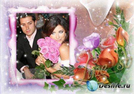 Женская рамочка для фотошопа с розами