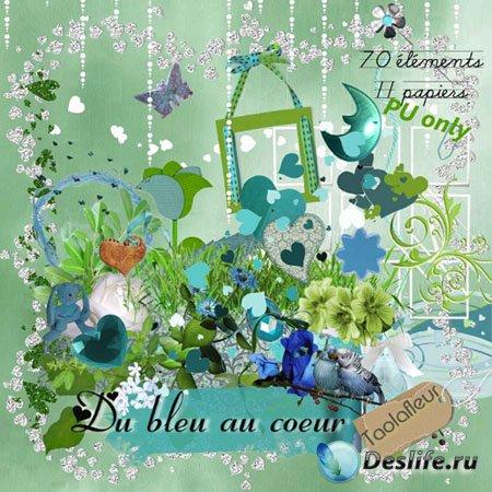 Скрап-набор - Голубой цвет в сердце