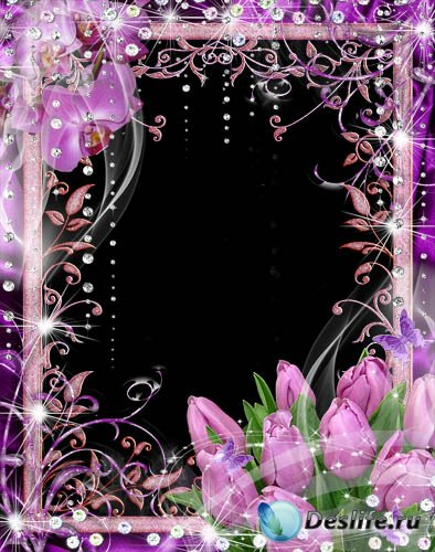 Рамка для фотошопа – Лиловые орхидеи и тюльпаны на  8 Марта