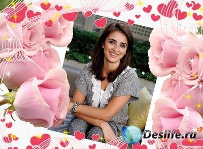 Женская открытка с розами
