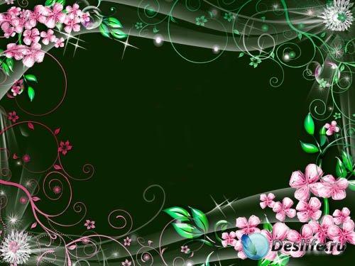 Рамка для фотошопа – Весенняя цветочная фантазия