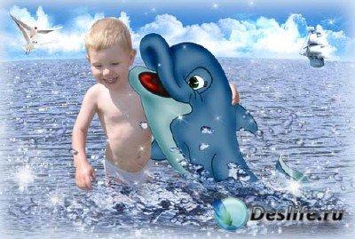 Шаблон для фотошопа - С дельфином