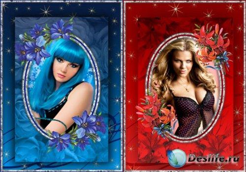 2 Рамки для фотошопа - Синие и красные лилии
