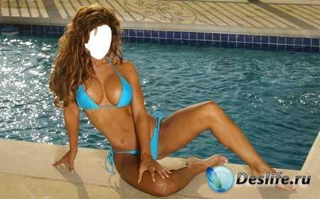 Костюм для Фотошопа - Девушка в голубом купальнике