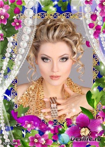 Женская рамочка для photoshop – Цветы и жемчуг